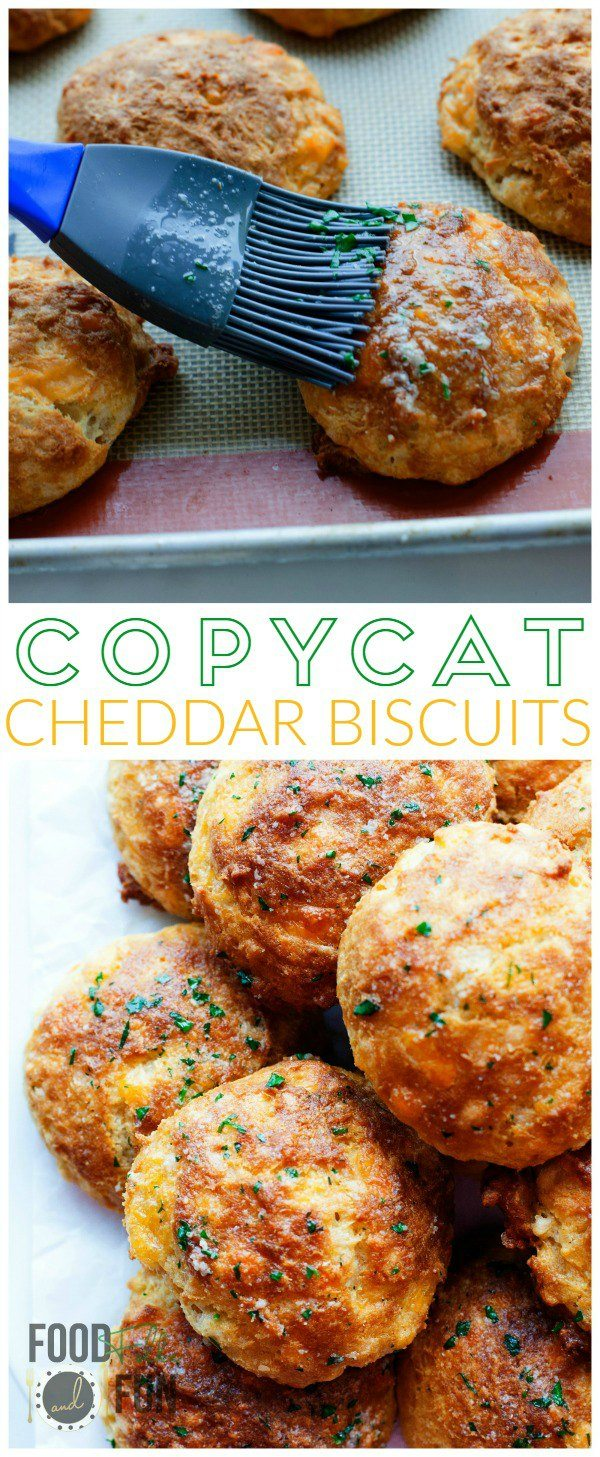 A collage of Copycat Red Lobster Cheddar Biscuits with text overlay for Pinterest