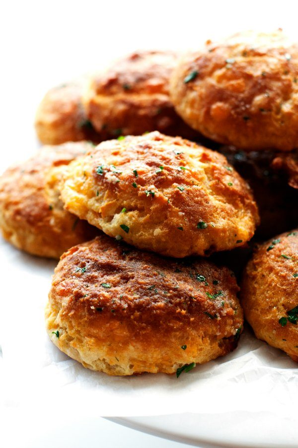 A close-up of a pile of Cheddar Biscuits