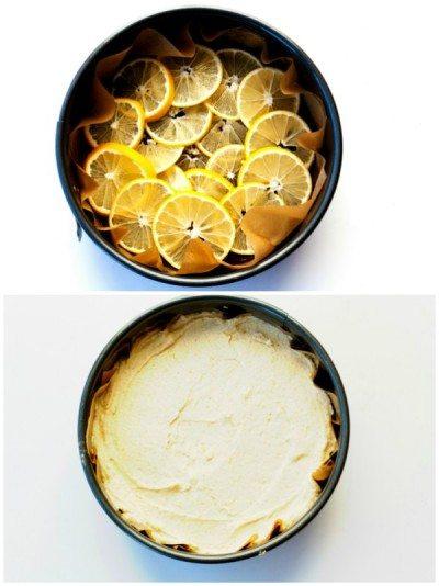 Collage of process shots of making Meyer Lemon Upside Down Cornmeal Cake