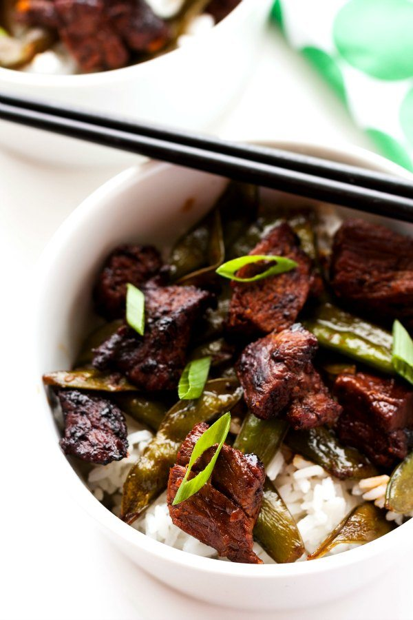 A bowl of Orange Beef with Snap Peas
