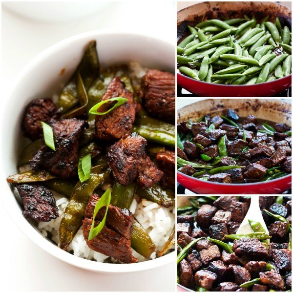 A collage of process shots of how to make Sichuan Style Orange Beef