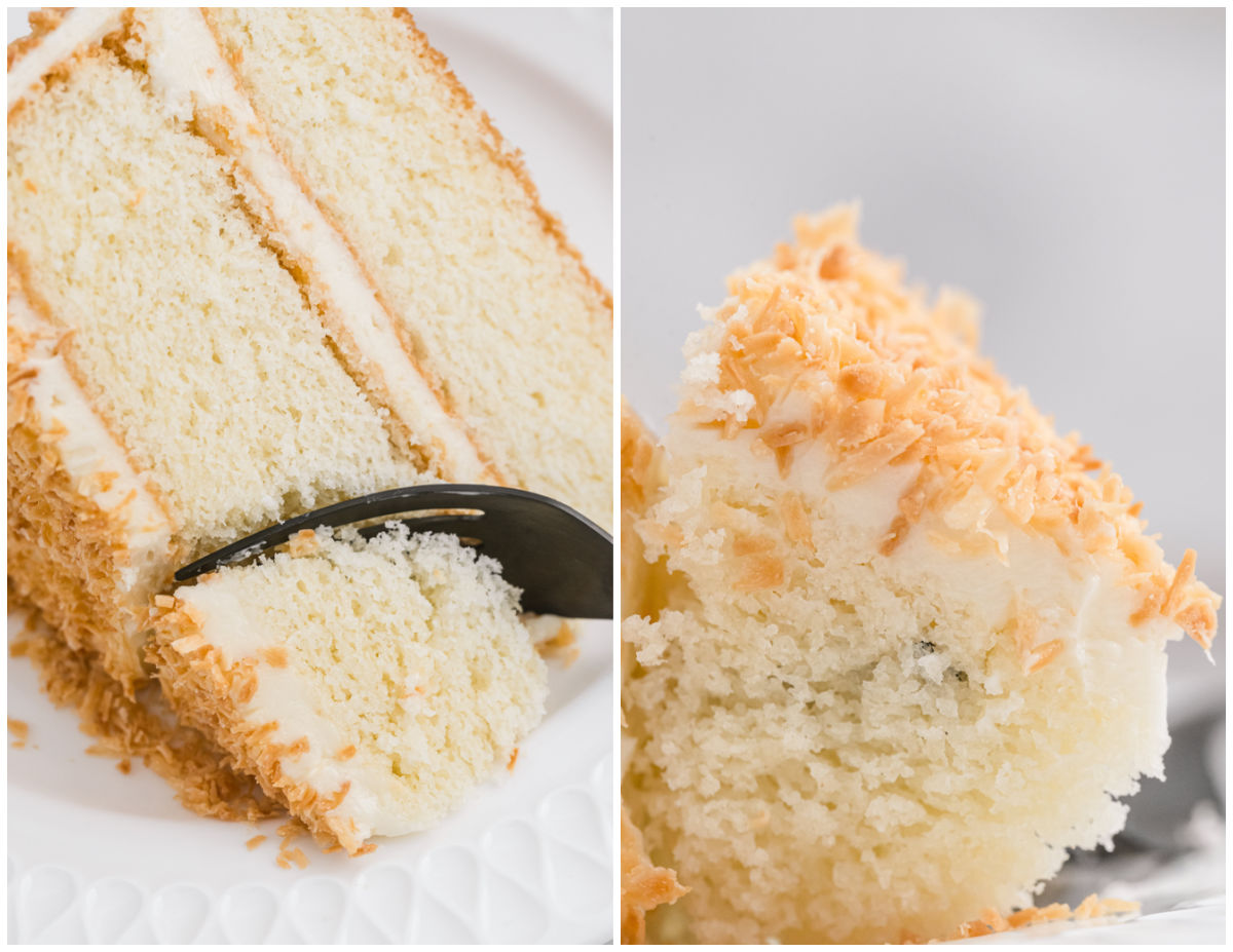 A fork digging into a piece of Coconut Cream Cake.