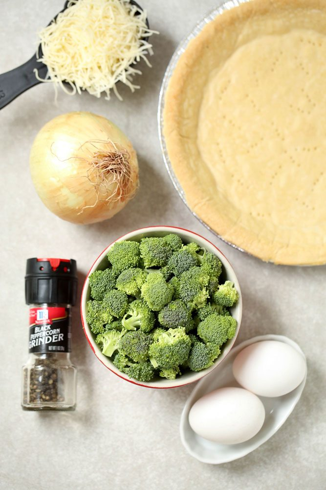 Ingredients for an easy Broccoli Quiche