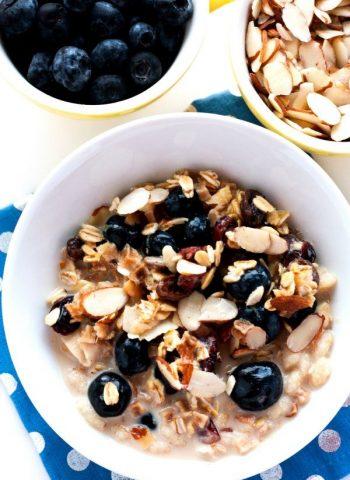 Overnight Blueberry Almond Muesli in a bowl