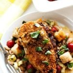 This Goat Cheese Stuffed Chicken Breast is so succulent and juicy. It's served on top of a bed of vibrant Panzanella.