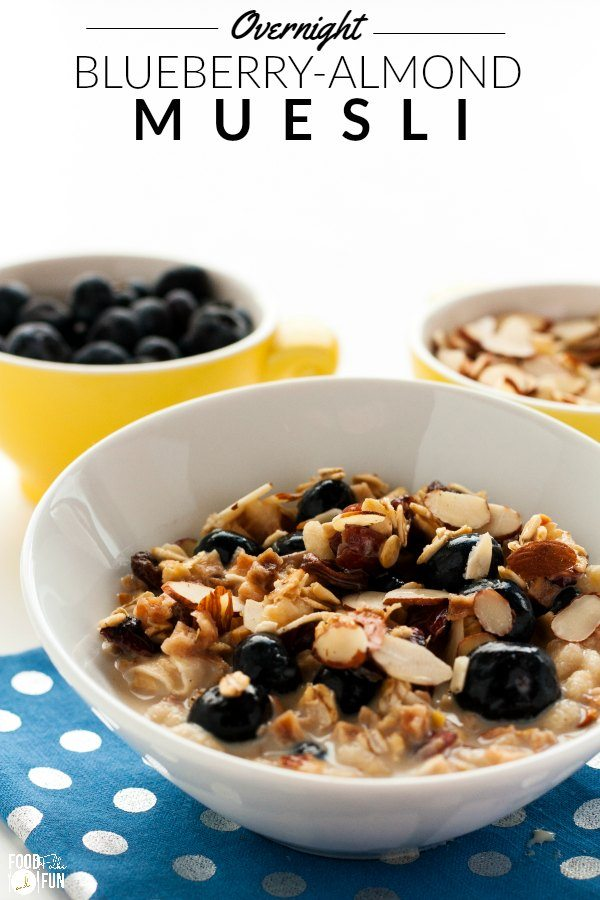 Blueberry Almond Muesli in a white bowl.