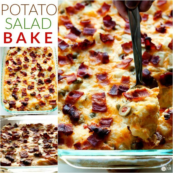 This Potato Salad Bake is your favorite potato salad turned into a warm and cheesy gratin casserole. Basically it's your new favorite side dish!