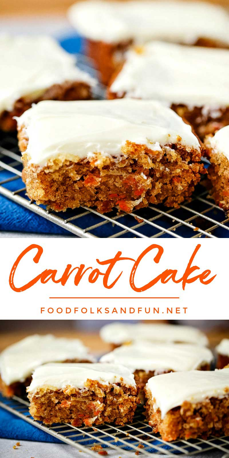 This easy Carrot Cake recipe is just the thing when you get a hankering for moist carrot cake and need it fast! It's a simple recipe with all of the important elements: spicy moist cake and fluffy cream cheese frosting. via @foodfolksandfun