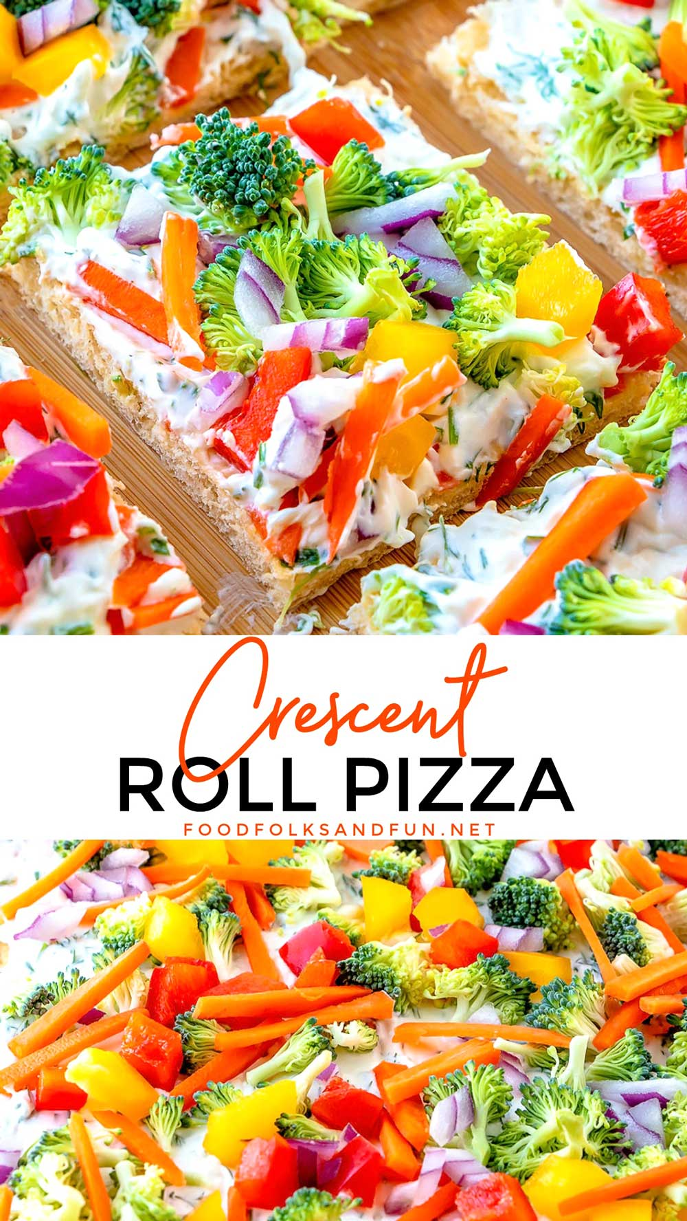 This Simple Crescent Roll Pizza Appetizer recipe is easy to make and always a hit at parties! You can even serve this veggie pizza recipe for dinner! via @foodfolksandfun
