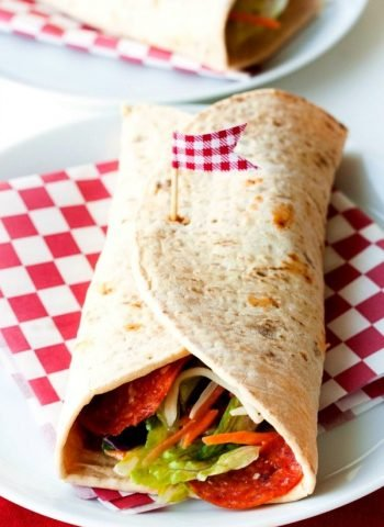 Top View of a Pizzeria Salad Wrap