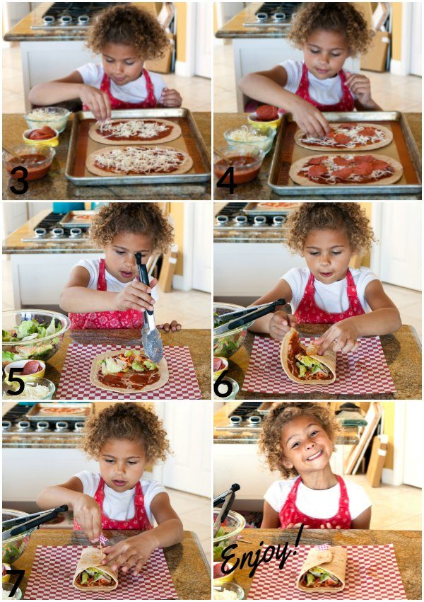 A collage of process shots for making Pizzeria Salad wraps with text overlay for social media