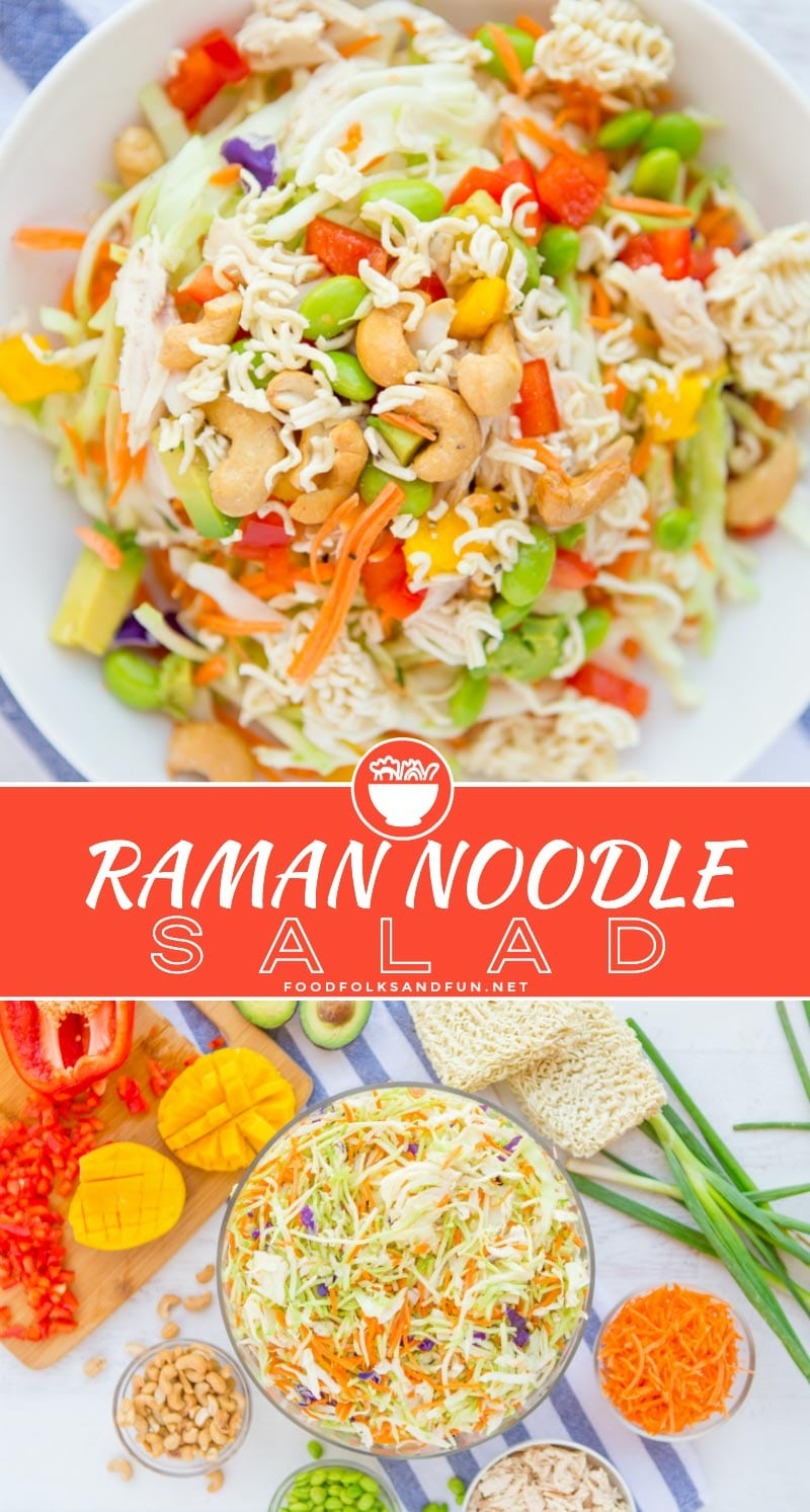 This recipe for Simple Crunchy Asian Ramen Noodle Salad is a simpler, healthier, fully-loaded version of the classic Ramen Salad. It takes just 20 minutes to make and it feeds a crowd making it perfect for potlucks! via @foodfolksandfun