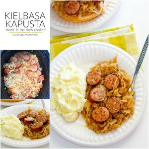 Kielbasa Kapusta collage of process shots and finished meal with text overlay for Pinterest