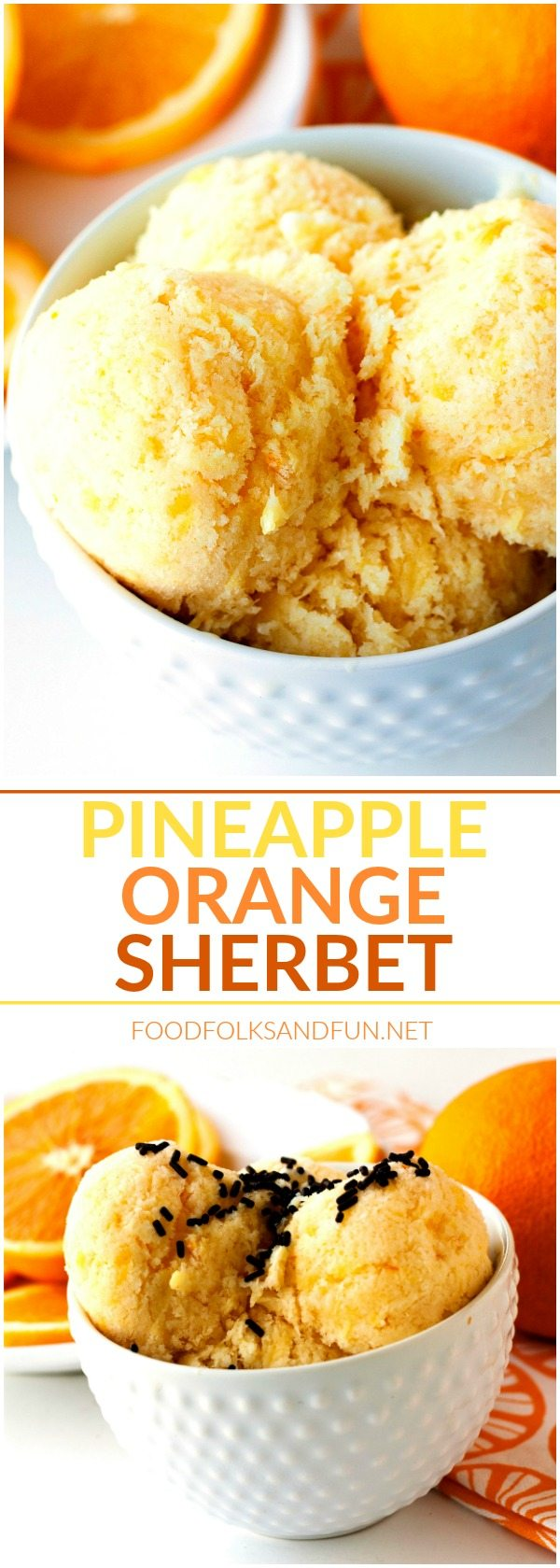 This Pineapple Orange Sherbet recipe is simple to make and so refreshing. It's just the thing to make when the weather starts to warm up!