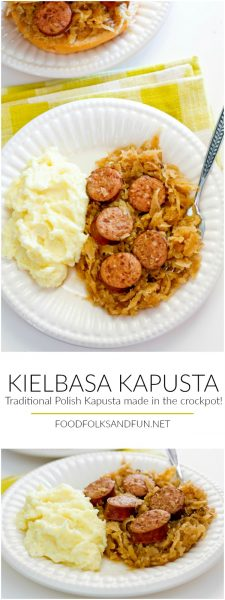 A plate of Kielbasa Kapusta with Mashed Potatoes with text overlay for Pinterest