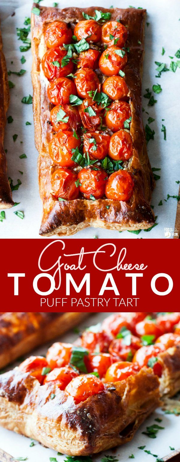 Picture collage of goat cheese tart.
