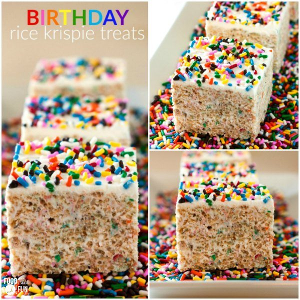 These ultimate Birthday Rice Krispies Treats are huge, gooey, and the perfect no-bake treat for birthdays! Try these instead of cupcakes for your kid's next school birthday treat!