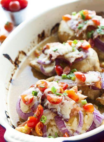 Copycat Monterey Chicken in a casserole dish