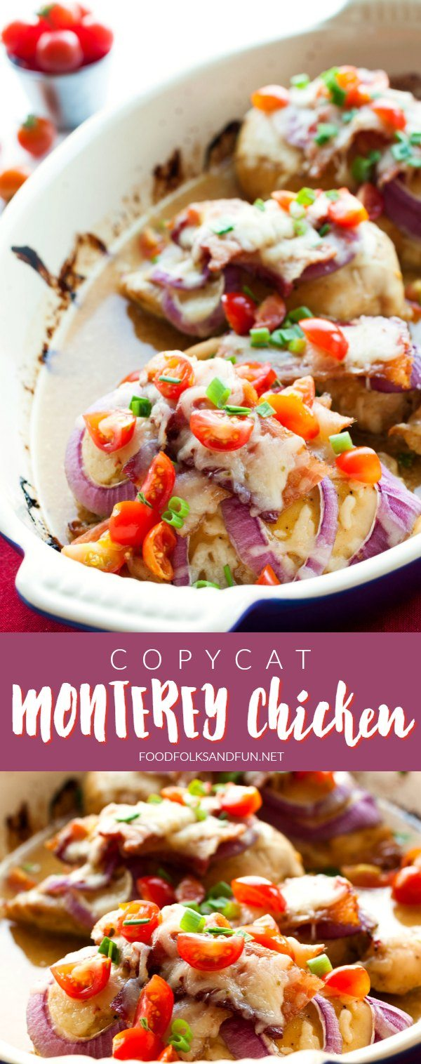 Make this easy and crave-worthy restaurant favorite at home! This Copycat Monterey Chicken recipe is the perfect combination of honey-mustard chicken breasts, bacon, and melted ooey-gooey Monterey Jack cheese. via @foodfolksandfun