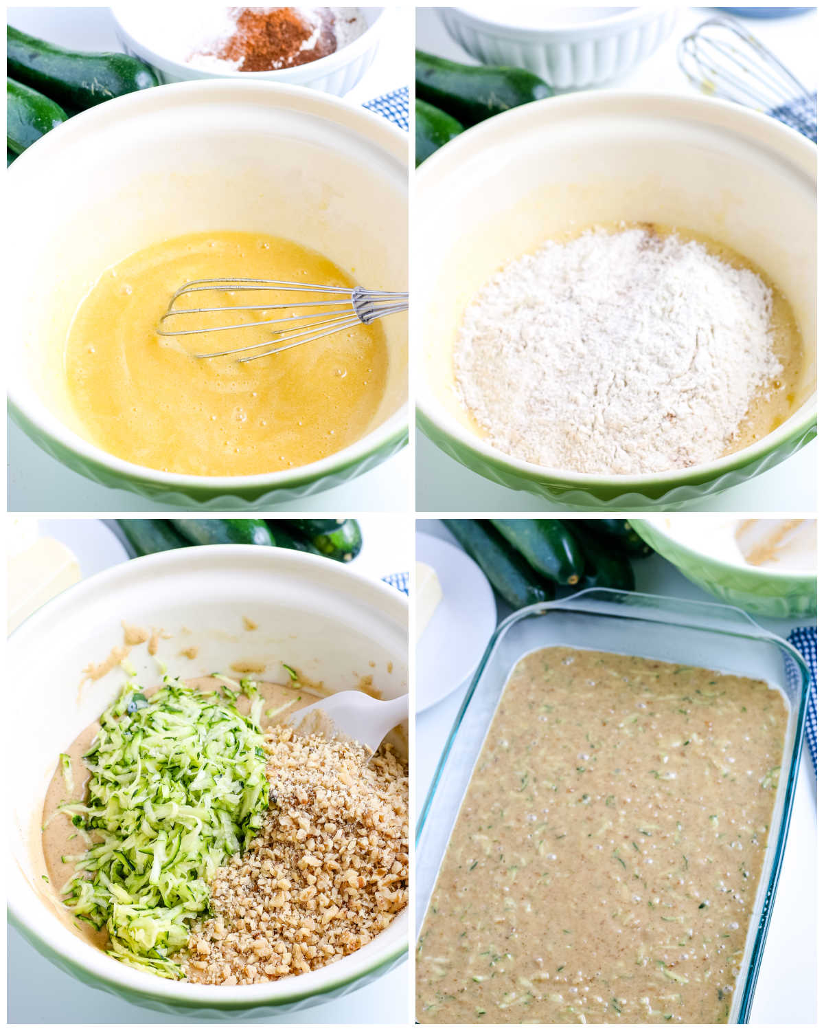 A picture collage of how to make this Zucchini Cake recipe.
