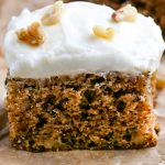 A close up picture of Zucchini Cake With Cream Cheese Frosting.