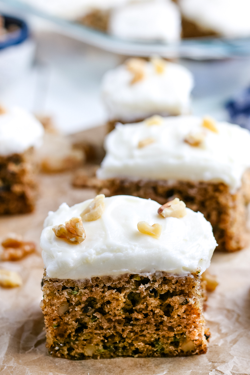 A slice of the finished Zucchini Cake With Cream Cheese Frosting.