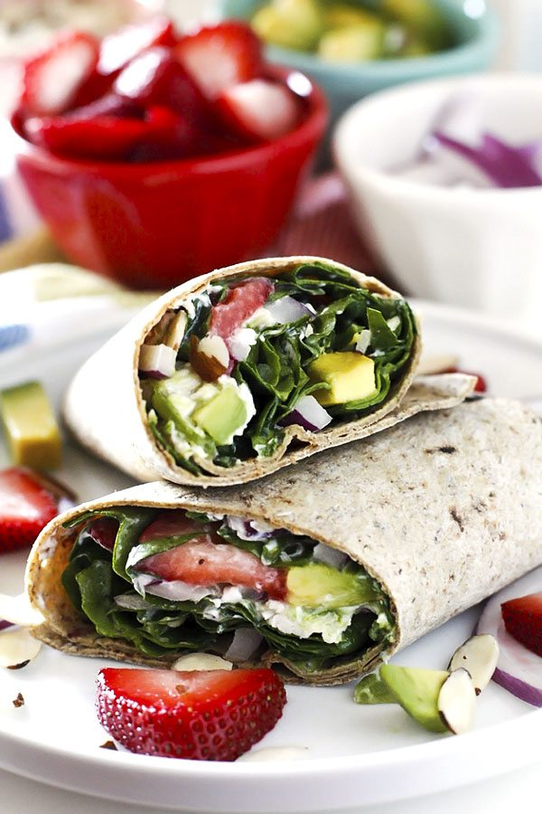 Avocado Strawberry Spinach Wraps with Poppy Seed Dressing