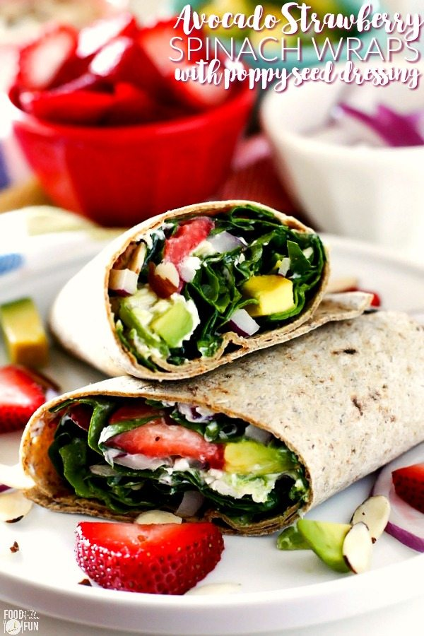 Avocados, strawberries, chicken, red onion, toasted almonds, goat cheese, and zesty poppy seed dressing combine to make these deliciously easy wraps. These Avocado Strawberry Spinach Wraps are great for quick lunches and even easy dinners!
