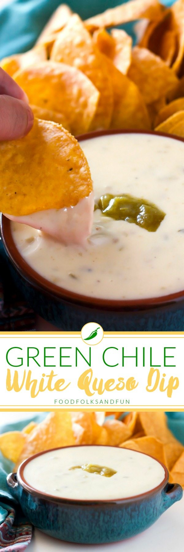 This homemade Green Chile White Queso Dip recipe is incredibly easy to make and SO delicious! All you need is 5 minutes and 5 ingredients! via @foodfolksandfun