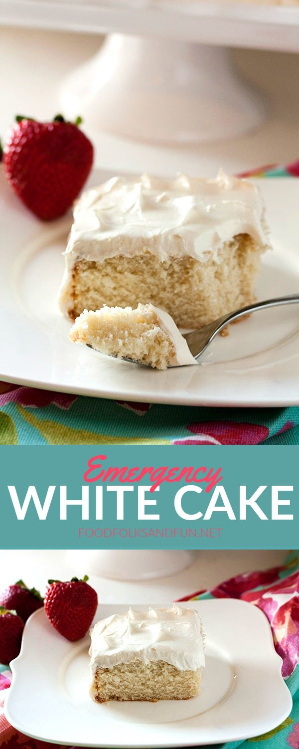 This Emergency White Cake recipe is just the thing when you get a hankering for cake and need it fast! It's a simple from-scratch recipe with all of the important elements: moist, tender white cake and fluffy buttercream frosting.