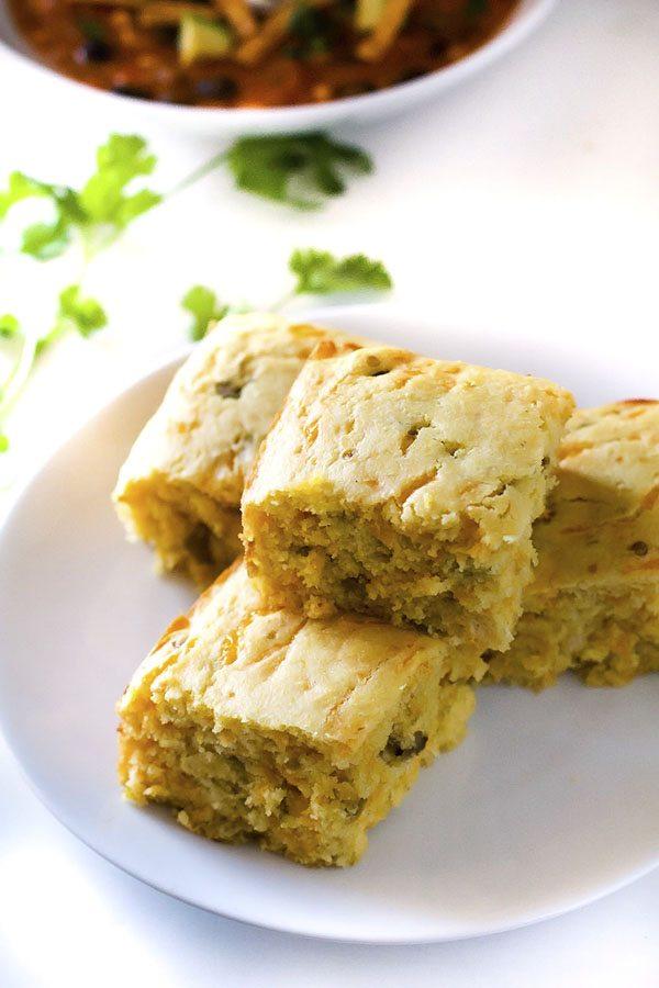 Cheesy Green Chile Cornbread