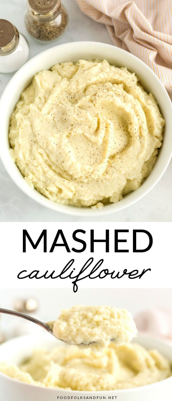 This Healthy Mashed Cauliflower recipe is delicious, flavorful and low-carb! You can get this mashed cauliflower on the table in 20 minutes or less! Plus, they're less than 100 calories per serving! via @foodfolksandfun