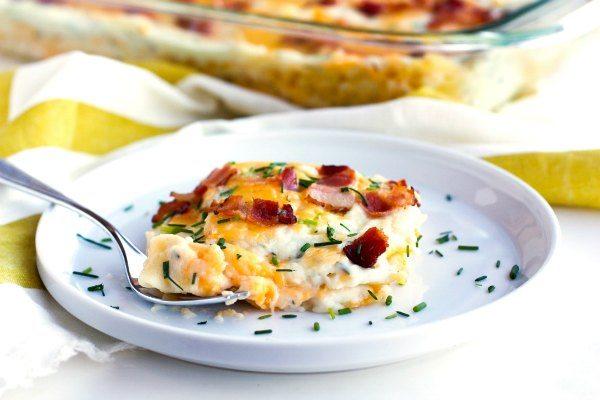 Cheesy Pierogi Lasagna on a plate