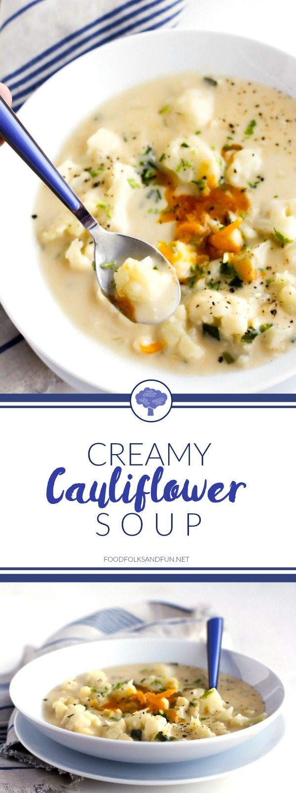 This Creamy Cauliflower Soup recipe is savory, cheesy, and filled with tender chunks of cauliflower plus all of the comforts of a home-cooked meal!