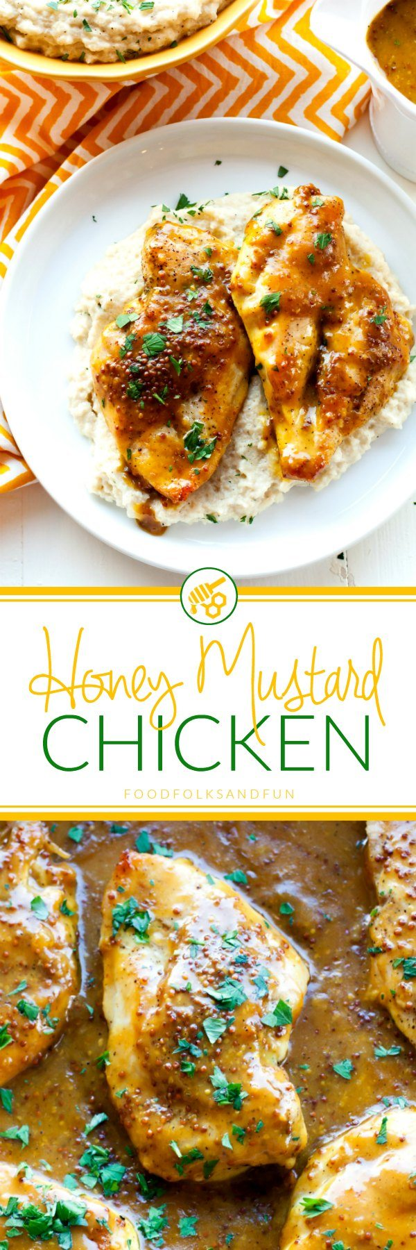 Saucy, tangy, succulent Honey Mustard Chicken is a tasty weeknight meal that everyone will not just love, but DEVOUR! Give yourself 18 minutes and dinner is served with this quick and easy dinner recipe! via @foodfolksandfun
