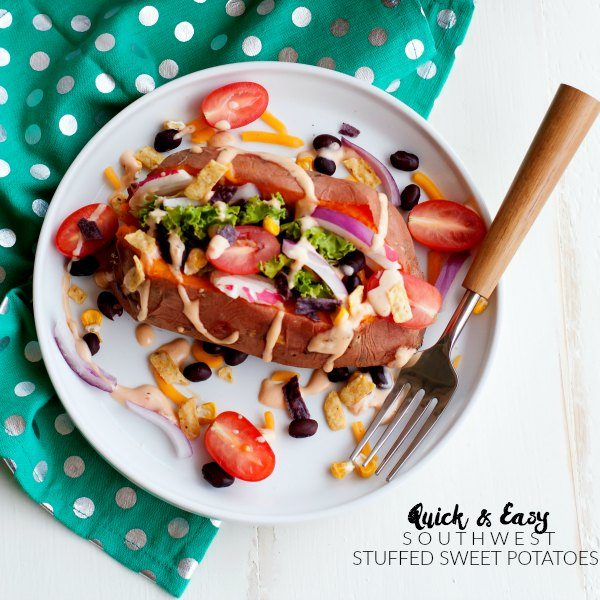 These Southwest Kale Stuffed Sweet Potatoes make a flavorful and healthy dinner that's quick and easy to make!