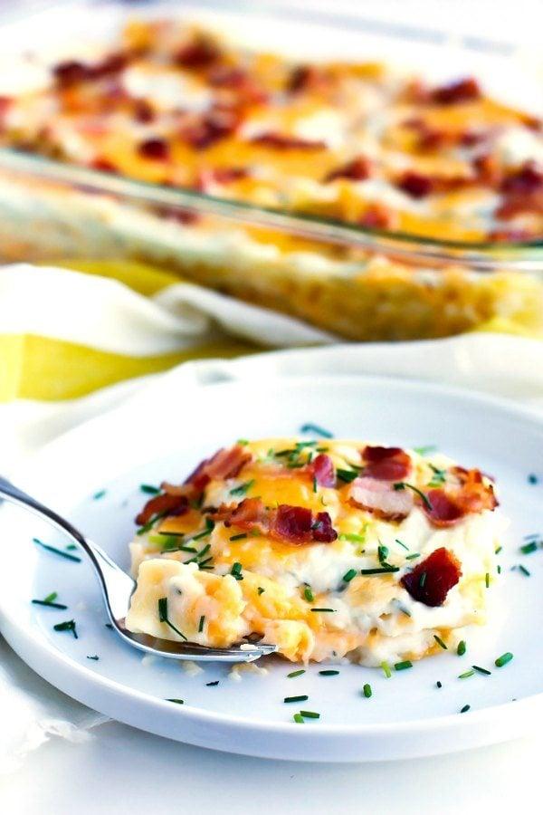 Pierogi lasagna on a plate.