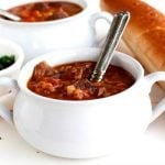 Slow Cooker Beef and Barley Soup in a soup bowl
