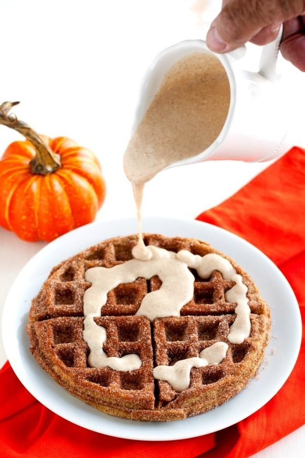 Pumpkin Churro Waffles with Spiced Cream Cheese Glaze
