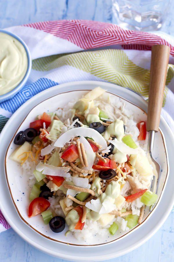 Slow Cooker Hawaiian Haystacks w/ Avocado Crema