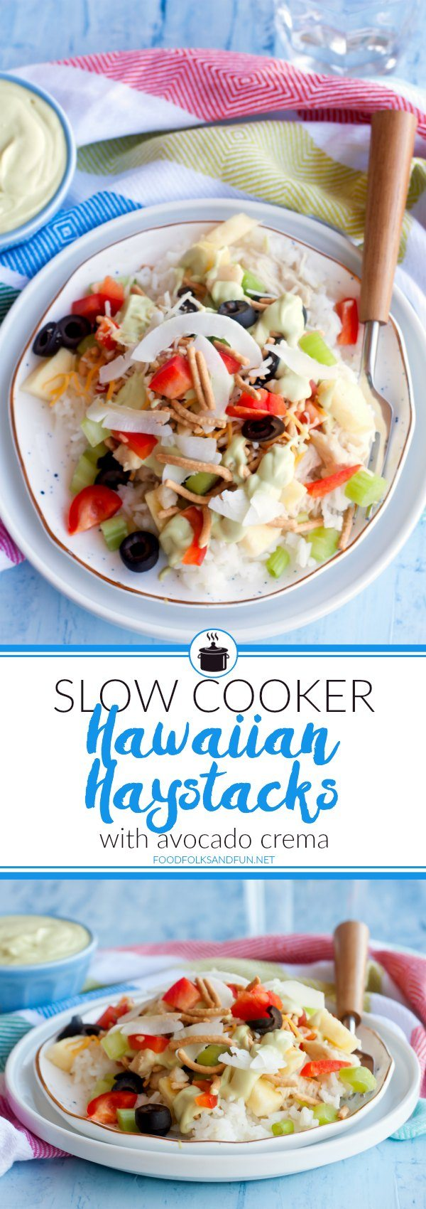 A collage of Hawaiian Haystacks with text overlay for Pinterest
