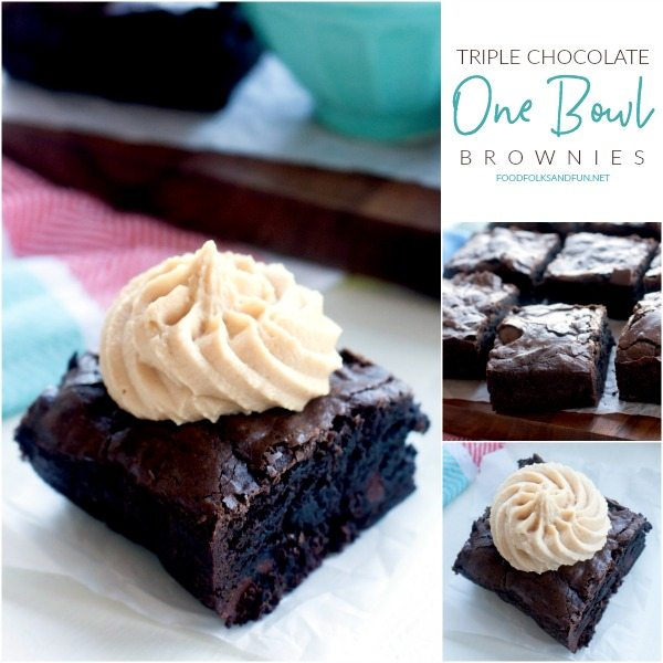 Picture collage of one bowl brownies.