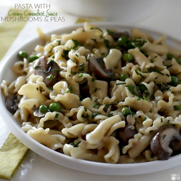 The finished pasta with mushrooms with text overlay for Facebook.