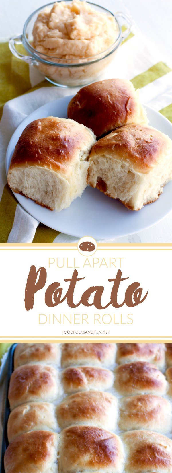 These soft and tender Pull Apart Potato Rolls are my all-time favorite rolls recipe for serving during fall dinners and holidays. via @foodfolksandfun
