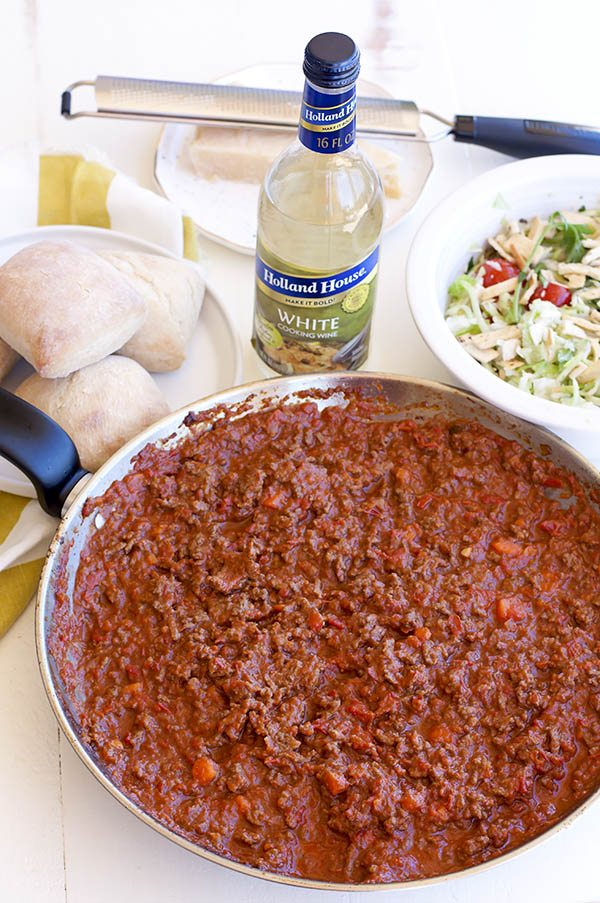 Sloppy Joe filling in a large pan.