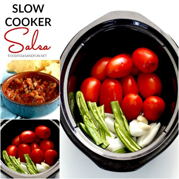 "This ""set it and forget it"" slow cooker salsa will soon become your favorite salsa recipe! It's incredibly easy to make with very little prep time."