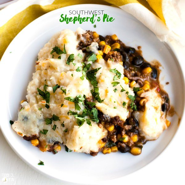 Southwest Shepherd\'s Pie on a plate with text overlay