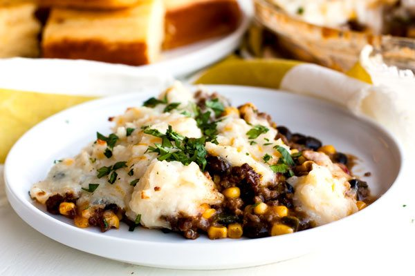 A serving of Shepherd\'s Pie on a plate