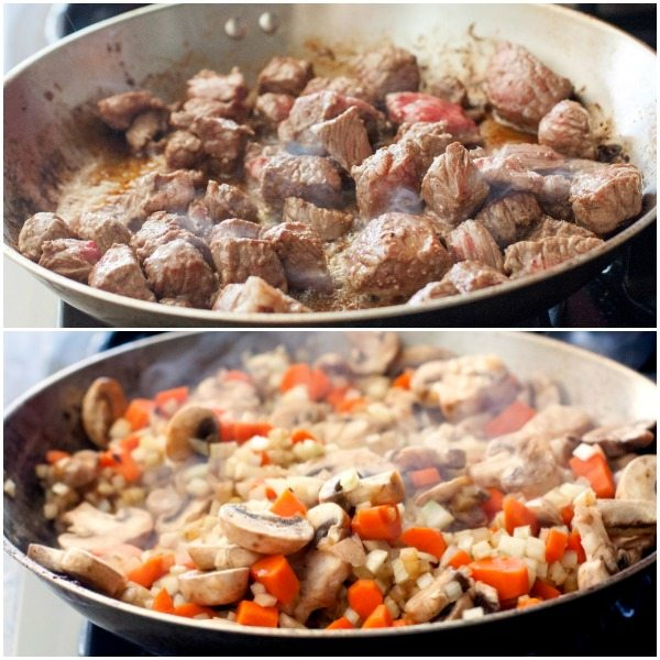 Cook the meat until no pink remains. Then, sauté the vegetables.