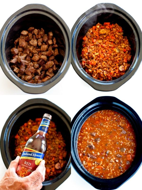 Steps 2 and 3 of how to make this Slow Cooker Beef and Barley Soup Recipe